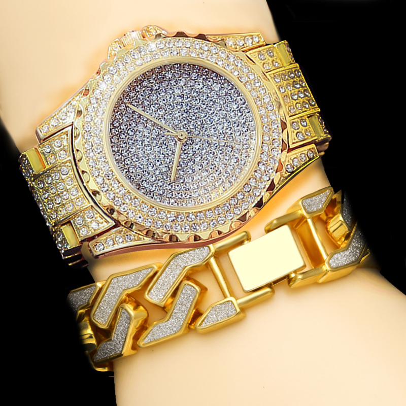 Men Hip Hop Gold Silver Luxury Bling Full CZ Crystal Watch Cuba Sandblast Bracelet Set free silver bracelet watch set full diamond bangle watch lady luxury dress jewelry charm watch rhinestone bling crystal bangle