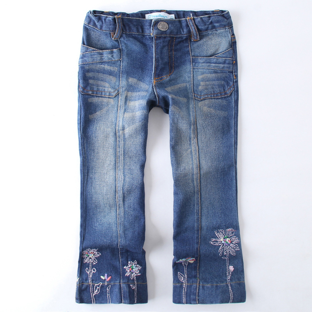 2016 New fashion girls jeans pants embroidery flowers casual kids blue Jeans baby girl denim ...