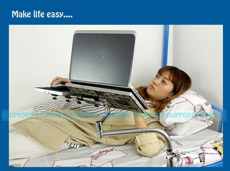 OK051 support de bureau d'ordinateur portable paresseux de serrage de chevet avec support de montage de clavier de ventilateur USB + tapis de souris tapis de souris