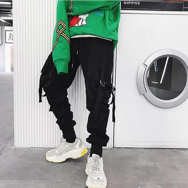 Japan ulzzang Style Pants men big pocket zipper loose casual harem pants baggy slacks trousers hip hop joggers male cross-pants 4