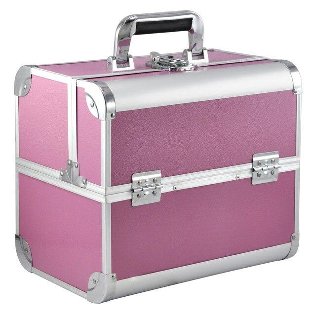 Large E Beauty Make Up Nail Tech Cosmetic Box Vanity Case Storage Pink