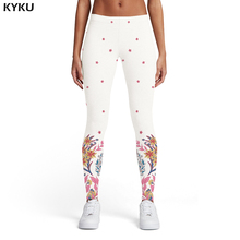 KYKU Brand Flower Leggings Women Leaf Printed pants Harajuku Sport White Ladies Art Leggins Womens Pants Casual Fashion