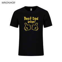 Best Dad Ever Letter Printed Mens T-Shirt Summer New Short Sleeve O Neck Cotton Tops Funny Fathers Day Gift Tee