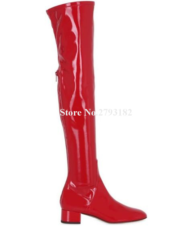 Winter New Fashion Women Round Toe Red Patent Leather Thick Heel Over Knee Boots Slim Style Chunky Heel Long Boots Dress Shoes цена 2017