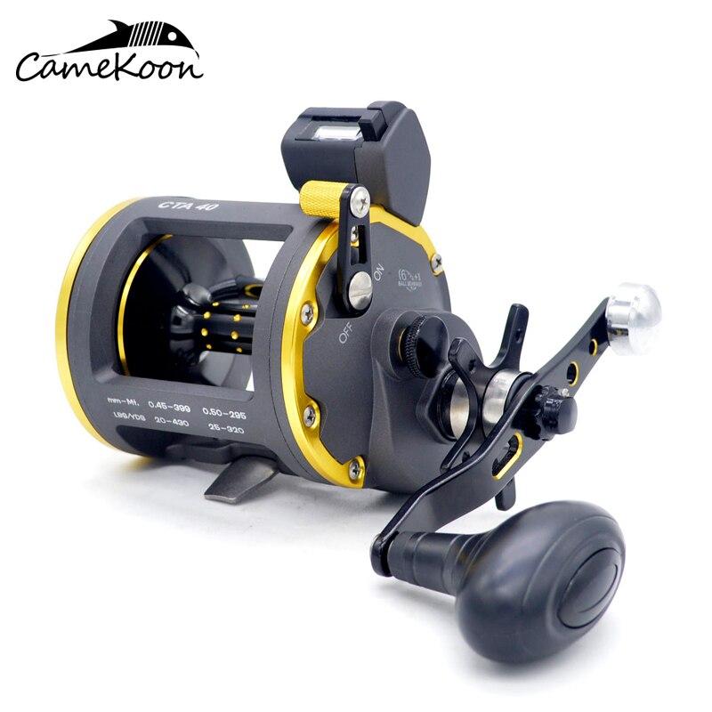 CAMEKOON niveau vent moulinet de pêche à la traîne avec compteur de ligne 6 + 1 roulements Max glisser 16 KG eau salée gros jeu pêche moulinet