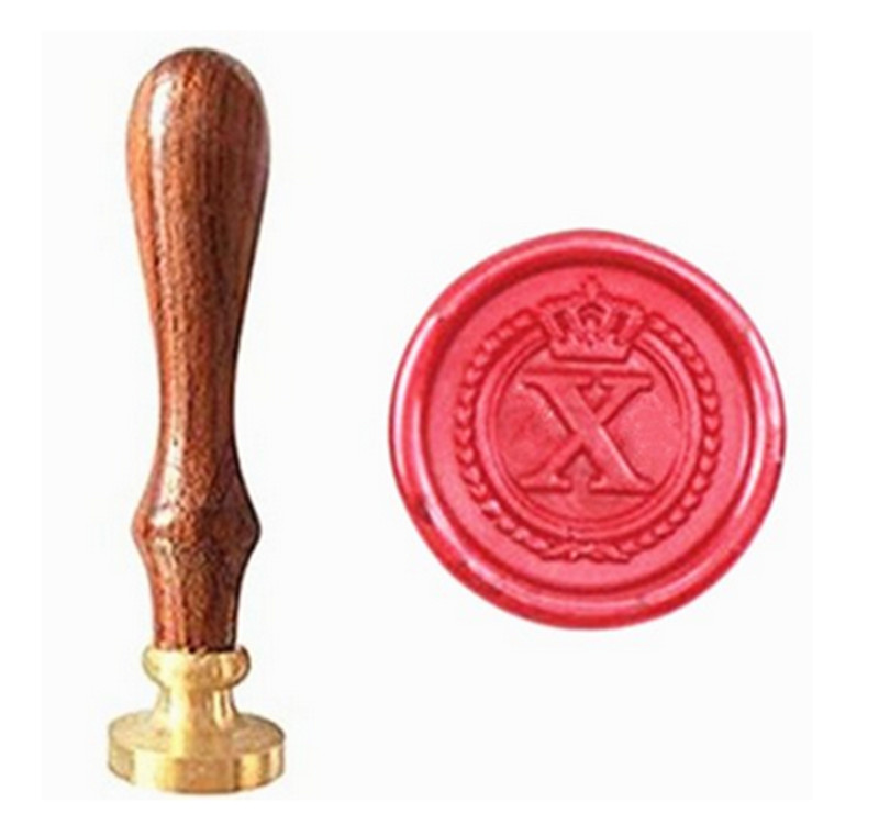все цены на MDLG Vintage Alphabet Letter X Crown Wedding Invitations Gift Cards Wax Seal Stamp Stationary Sealing Wax Stamp Wood Handel Set онлайн