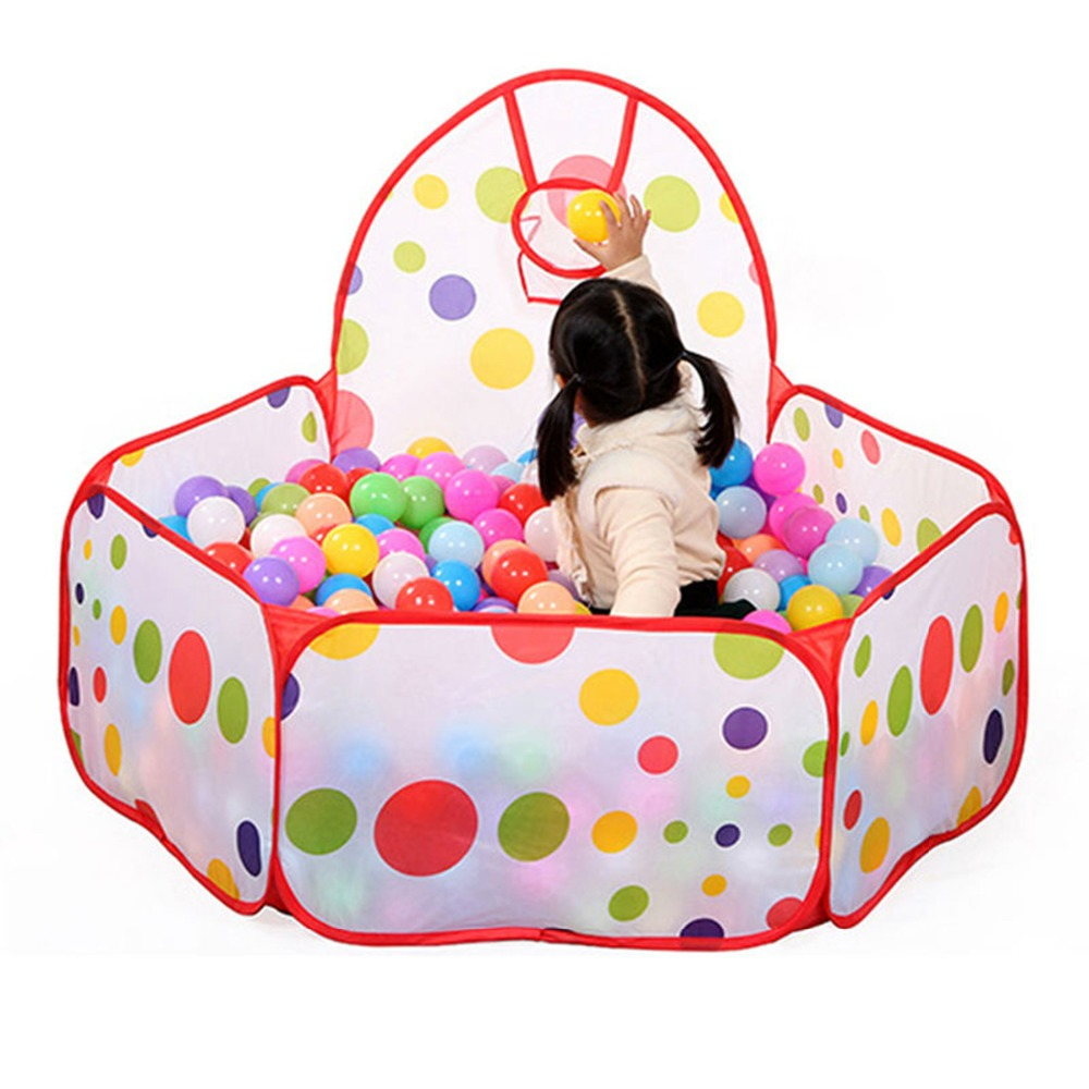 Kids Ball Pit Ball Tent Toddler Game Play Tent with Basketball Hoop for Toddlers Portable Pool Foldable Children Outdoor Sports