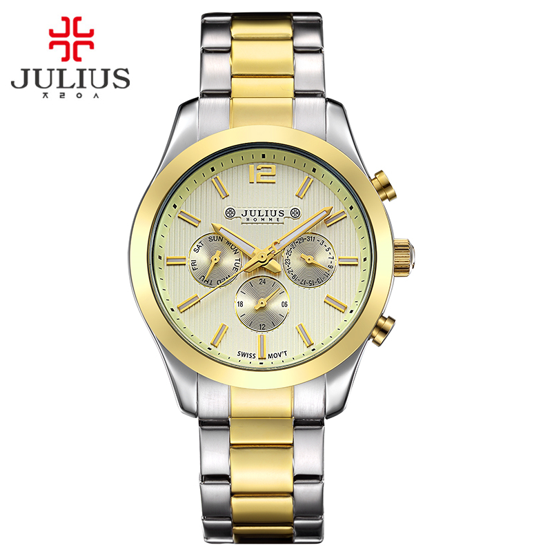 New Julius Men's Homme Wrist Watch Fashion Hours Dress Bracelet ISA Mov Stainless Steel Business School Boy Birthday Gift real functions men s watch isa mov t hours clock fine fashion dress stainless steel bracelet boy s birthday gift julius