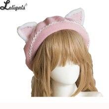 ผู้หญิงน่ารักแมวหู Berets น่ารัก Mori สาว Berets ขนสัตว์สำหรับฤดูหนาวสีชมพูสีขาว