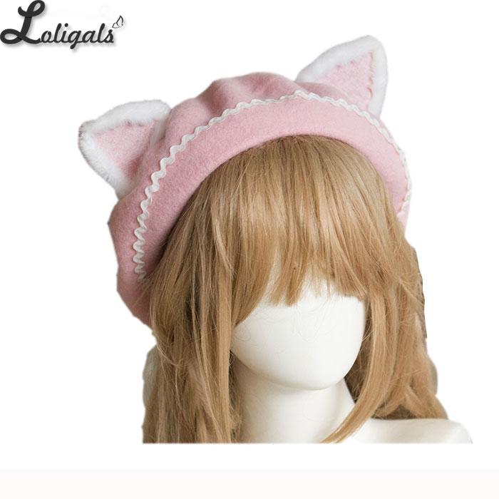 Lovely Womens Cat Ear Berets Cute Mori Girl Wool Berets for Winter Pink WhiteWomens Berets   -
