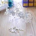 Великолепный цветок лента для волос девушка корона кристалл невеста hairwear перл ювелирные изделия серьги подарок фестиваль свадьба аксессуары для волос jingmeng