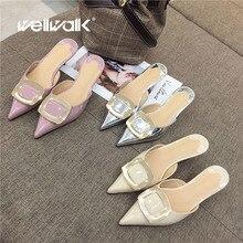 купить Wellwalk Pointed Toe Mules Women High Slippers Ladies Fashion Slides Small Heel Slippers Women Mules Female Close Toe Sandals по цене 1524.51 рублей