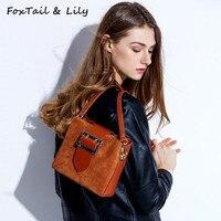 Лисохвост и Лили брендовая модная женская сумка из натурального нубука Для женщин ведро Сумки Винтаж Crossbody сумки