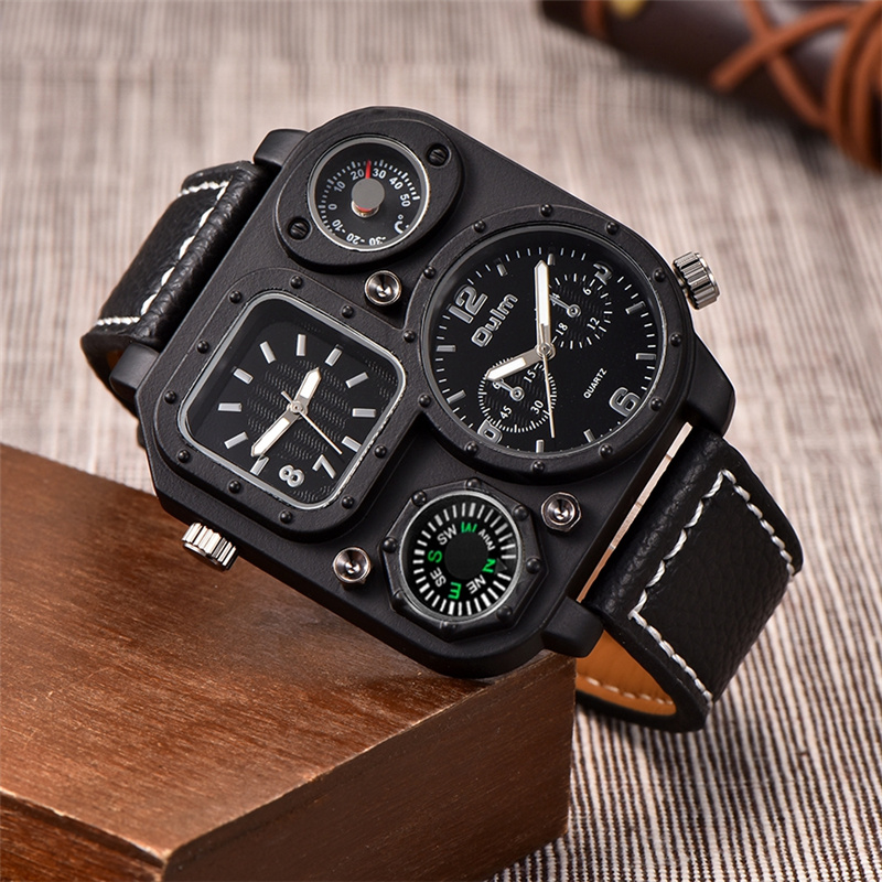 Oulm Limited Edition Unique Black Watches Men Sport Quartz Watch Male Two Time Zone Clock Decorative Compass and Thermometer