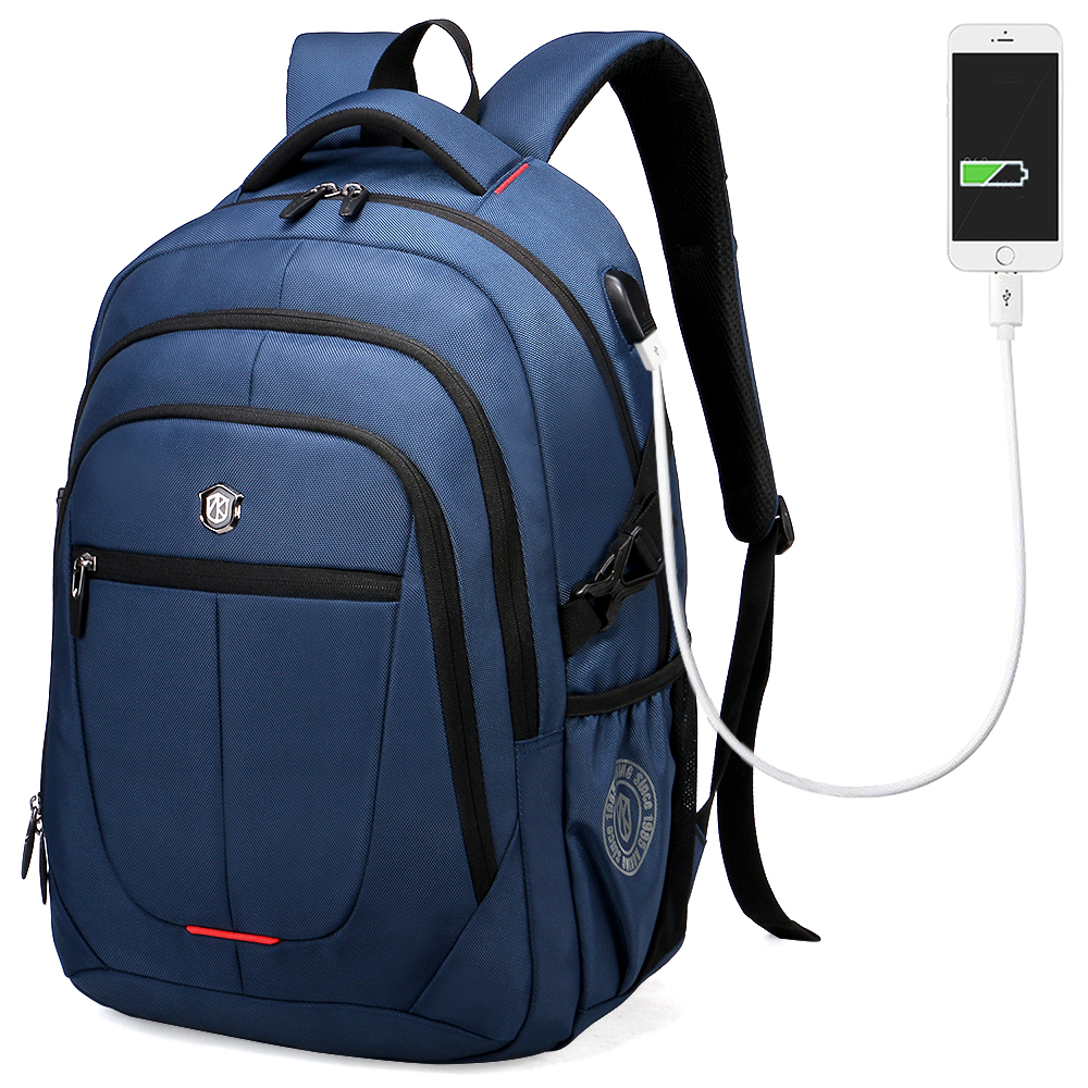 Aoking External USB Charge Computer Bag Polyester Notebook font b Backpack b font Men font b