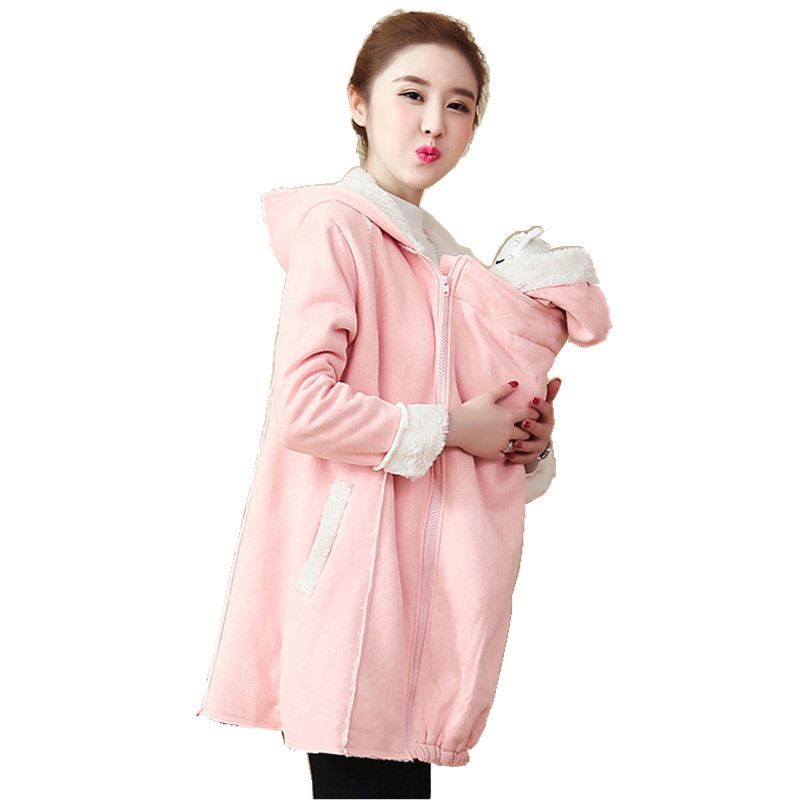 Maternity Clothing 2018 Winter New Maternity Coat Fashion Deer Suede Plus Velvet Thick Long Winderbreaker Pregnant