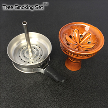 1pc Charcoal Screen Holder With Handle 1pc Glaze smoke pot bowl hookah Tobacco Bowl Accessories Gadget Tobacco Bowl For Hookah