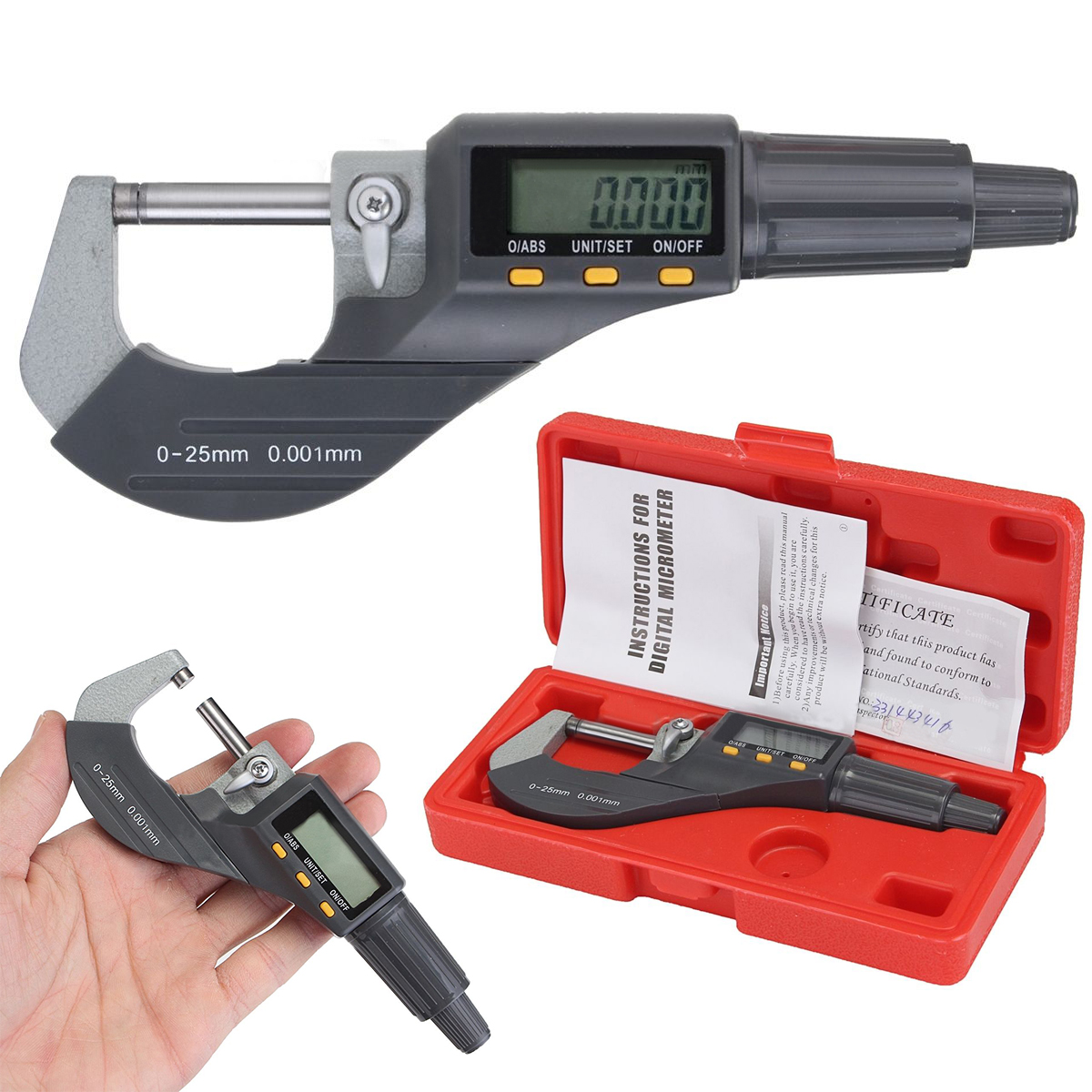 0-25mm LCD Digital Electronic Outside Micrometer Carbide Tip Kit For Measure Tools