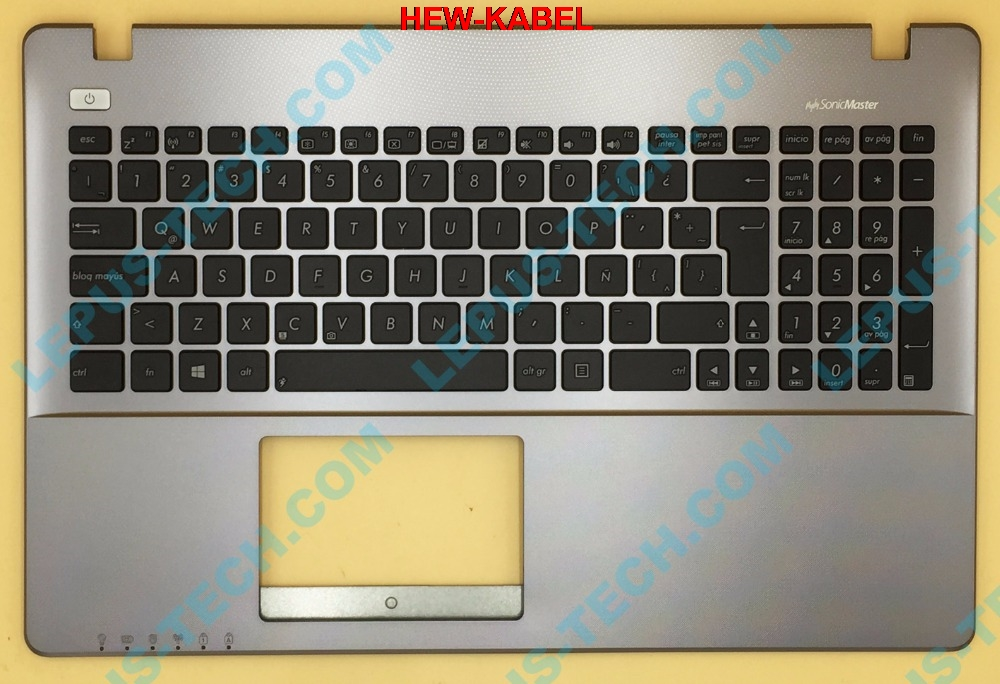 LA Latin Keyboard For ASUS X550 K550V Y582 X552E A550L Y581C F550 R510JK Top Cover Upper Case Palmrest 90NB00T1-R31LA0 GrayLA Latin Keyboard For ASUS X550 K550V Y582 X552E A550L Y581C F550 R510JK Top Cover Upper Case Palmrest 90NB00T1-R31LA0 Gray