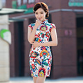 Shanghai Story floral print Short Qipao traditional chinese cheongsam dress qipao national chinese dresses