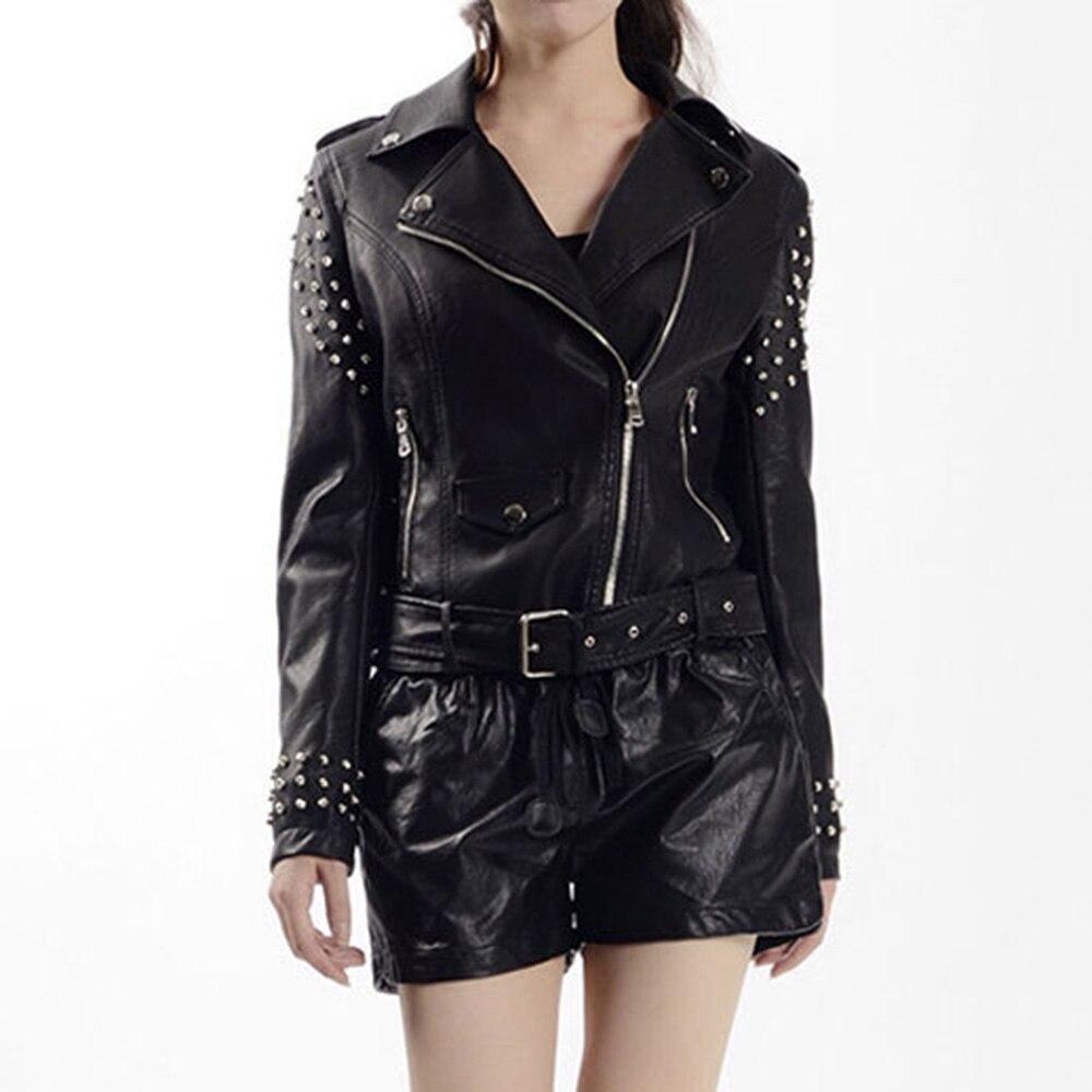 Automne Style Femmes Black Revers Pu Courte En Fermeture Noir Nouveau De Ceinture Rivet Occidental Mince Beau Éclair Punk Mode Filles Veste SqBwgYWzq
