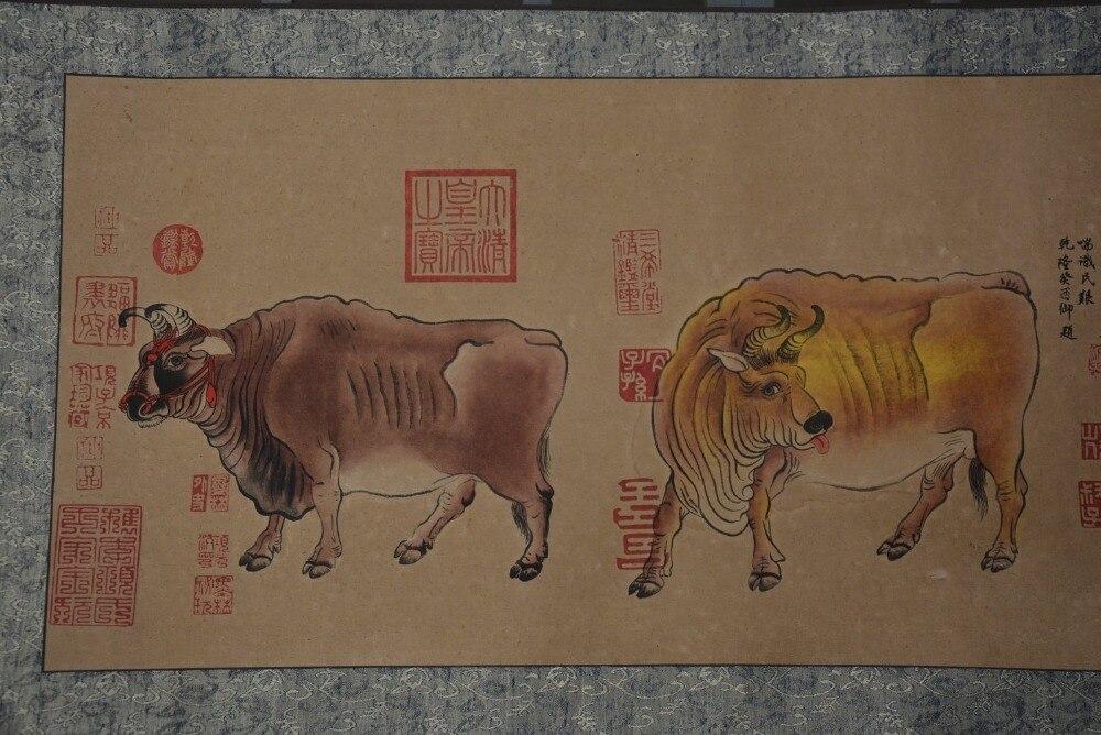Peintures chinoises peintes à la main, image du long axe de la dynastie Qing en chine, vache, livraison gratuite