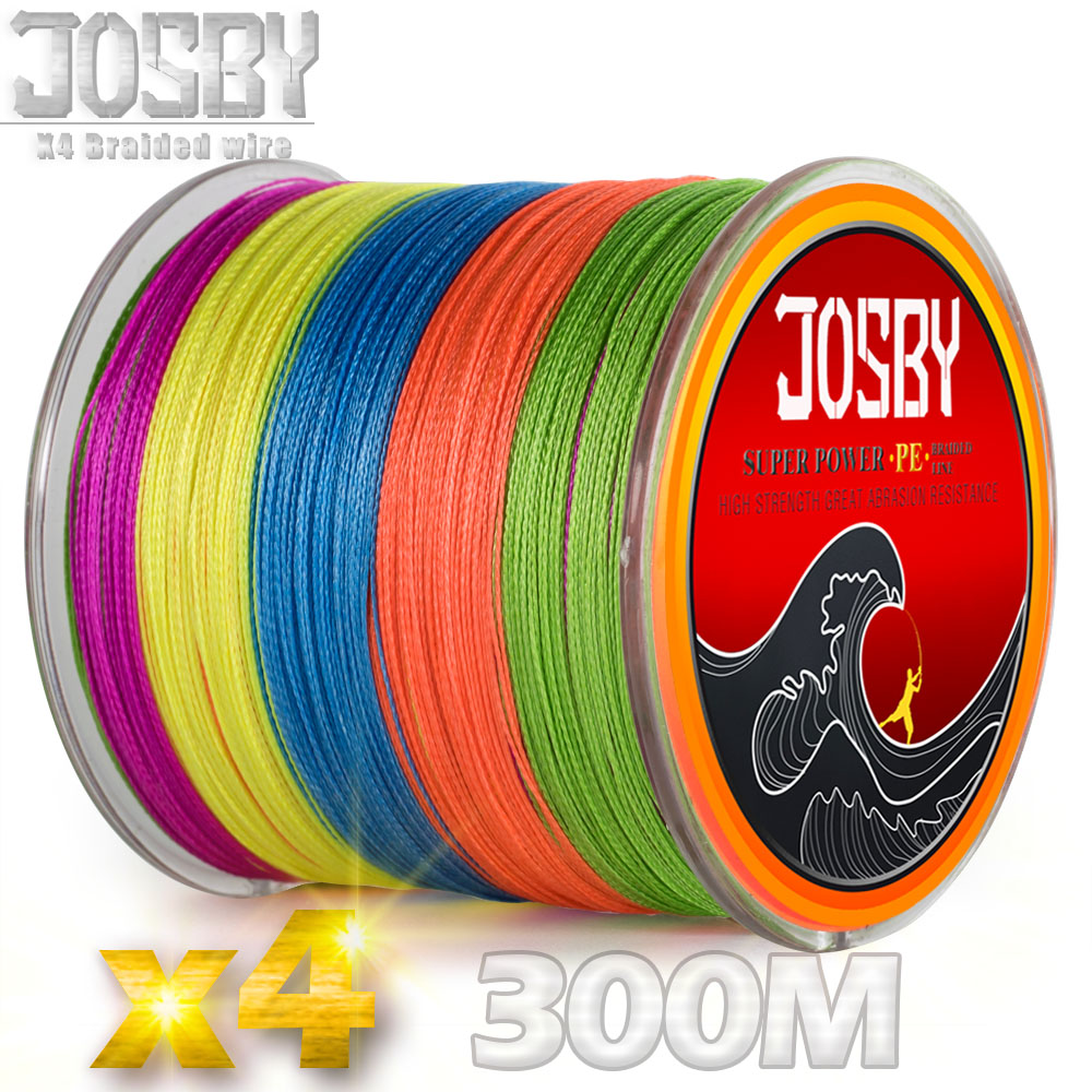 JOSBY 300M Brand 4 Strands 100% PE Braided Fishing Line Japan   Multifilament  0.12mm to 0.5mm 10LB to 80LB HOT sales