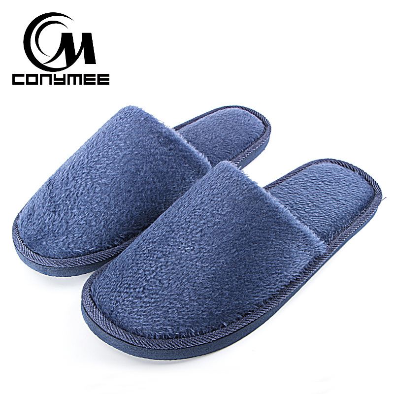 CONYMEE 2018 Home Slippers For Men Winter Indoor Shoes Casual Sneakers Mens Warm Cotton Slipper Pantuflas Soft Plush Terlik