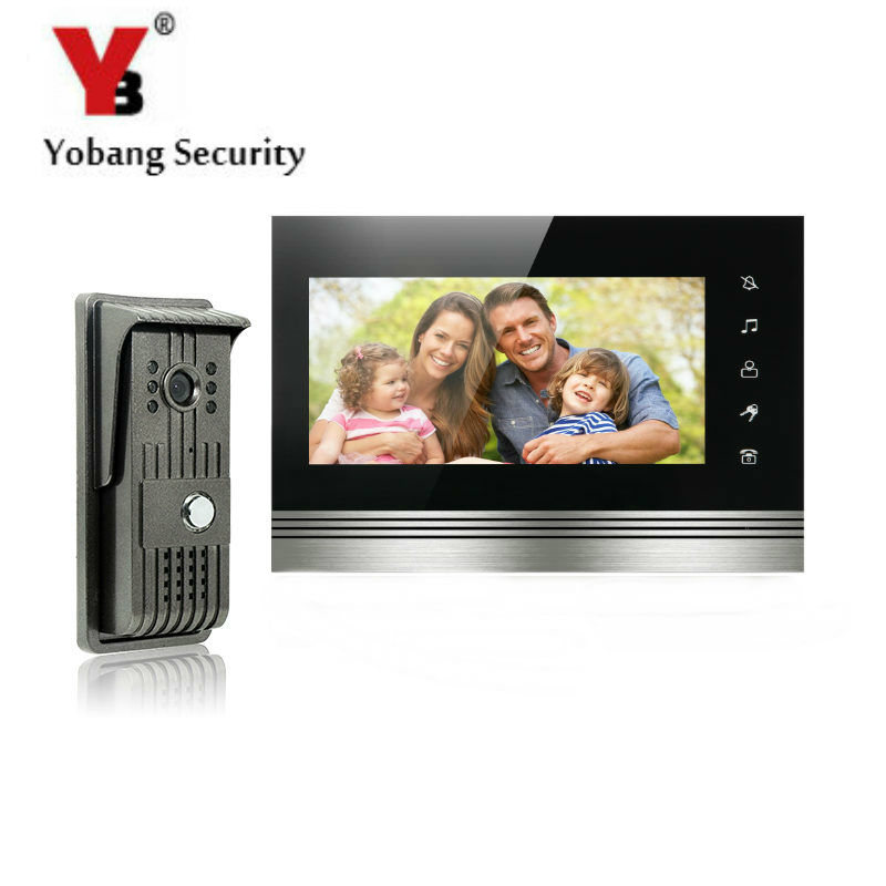 YobangSecurity 7 Inch Color Touch Button Video Door Phone Doorbell Intercom Entry System Kit With Metal Case 1 Camera 1 Monitor door intercom video cam doorbell door bell with 4 inch tft color monitor 1200tvl camera