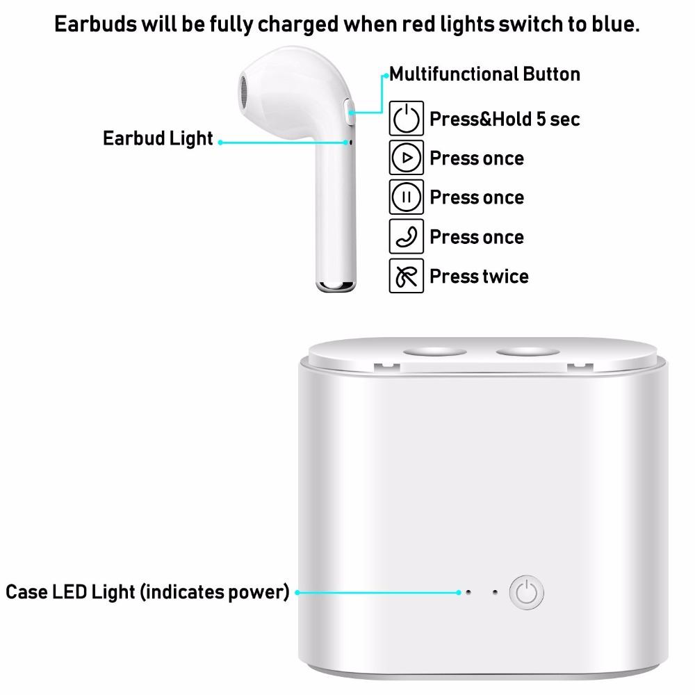 Wireless In Ear Earphones Bluetooth I7 TWS 4 2 Double Ear Side Headsets Stereo Music Charger for iPhone 6 7 8 Plus X Samsung S8 in Bluetooth Earphones Headphones from Consumer Electronics