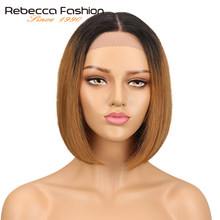 Rebecca Short Bob Ombre Hair Wigs For Women Middle Part Brazilian Straight Remy Hair Lace Front Human Hair Wig 4 Colors Choice(China)