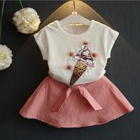 Ice קרם נצנצים נסיכת ילדי בנות תינוק בגדים סיטונאיים בגדי ילדי חצאיות מכנסי חולצות הקיץ מוצק 5 סטים\חבילה