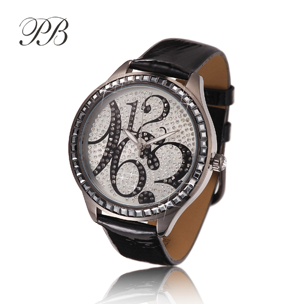 New Arrival Famous PB Brand Princess Butterfly Element Crystal Watch Young Girl Fashion Time Number Rhinestone Watch