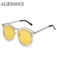 Wayfarer ALIENSOCE Venta Caliente de La Manera Mujeres de Los Hombres gafas de Sol de Metal Hueco Gafas de sol Gafas De Sol De Marco Redondo