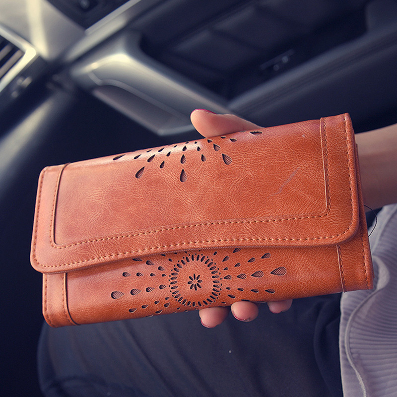 High Quality Hollow Wallet Women Retro Long Designer Lady Hasp Clutch Bag Top Pu Leather Female Card Holder Wallets Coin Purse