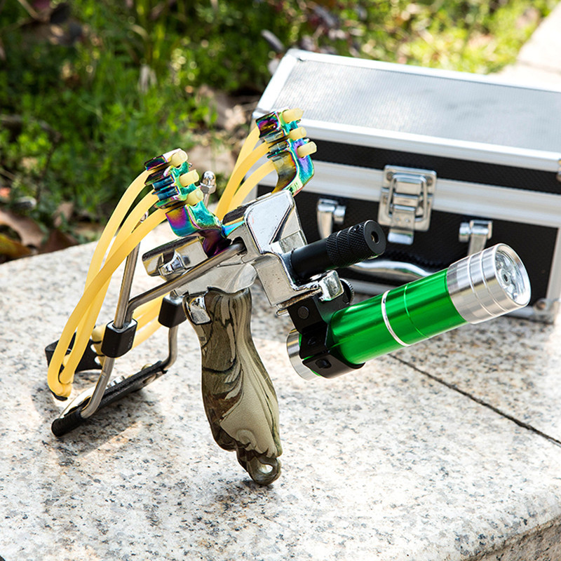 Stainless Steel Hunting Laser Slingshot with Folding Wrist Rest High Velocity Brace Catapult Slingshot Shooting Fishing