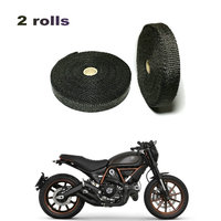 2 Rolls 5m Black Exhaust Thermo Wrap Shield Protective Tape Fireproof Insulating Cloth Double Rolls For