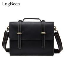 Lngbeen NEW Genuine Leather Black Men Briefcase Laptop Business Bag Cowhide Men's Messenger Bags Luxury Lawyer Handbags LB1036