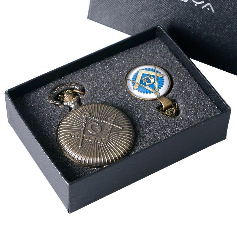 Luxury Gift Set Freemasonry Masonic Jewelry Pocket Watch With Necklace Pendant And Heavy Chain
