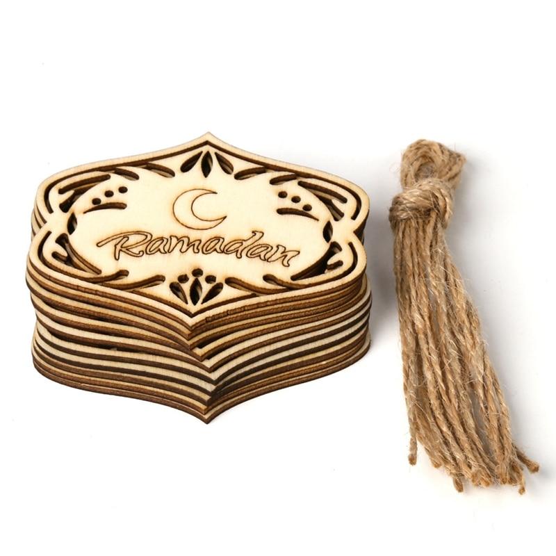 10pcs/set Eid Mubarak Muslim Home Decoration Pendant Wooden Hollow Ornament with Ropes DIY Crafts Ramadan Decor