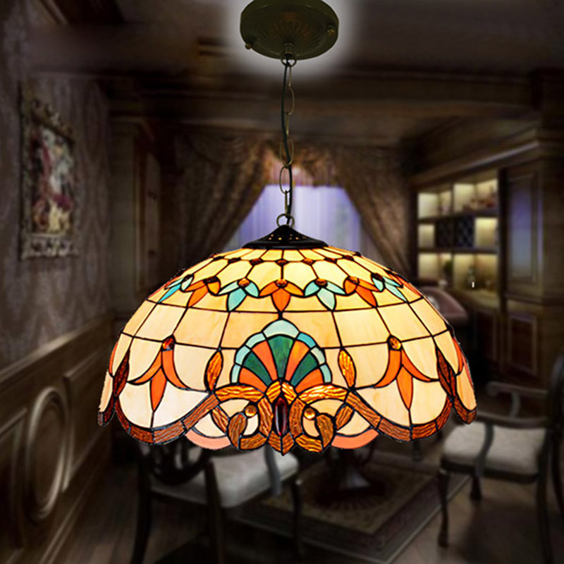 Modern Tiffany Baroque Stained Glass Suspended Luminaire E27 LED Iron Chain Pendant Light Lamp for Home Parlor Dining RoomModern Tiffany Baroque Stained Glass Suspended Luminaire E27 LED Iron Chain Pendant Light Lamp for Home Parlor Dining Room