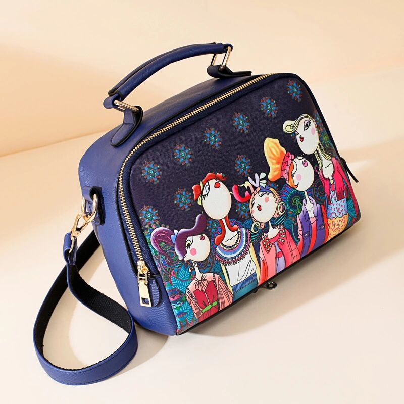 2019 High Quality PU Leather Ladies Green Cartoon Handbag Shoulder Bag Female Handbag Fashionable Forest Girl's Small Square Bag(China)