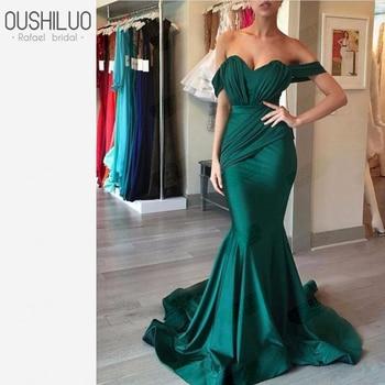 Arabic Emerald Green Mermaid Long Formal Evening Dress For Latin Women Off The Shoulder Party Prom Dresses Wear Robe De Soirée