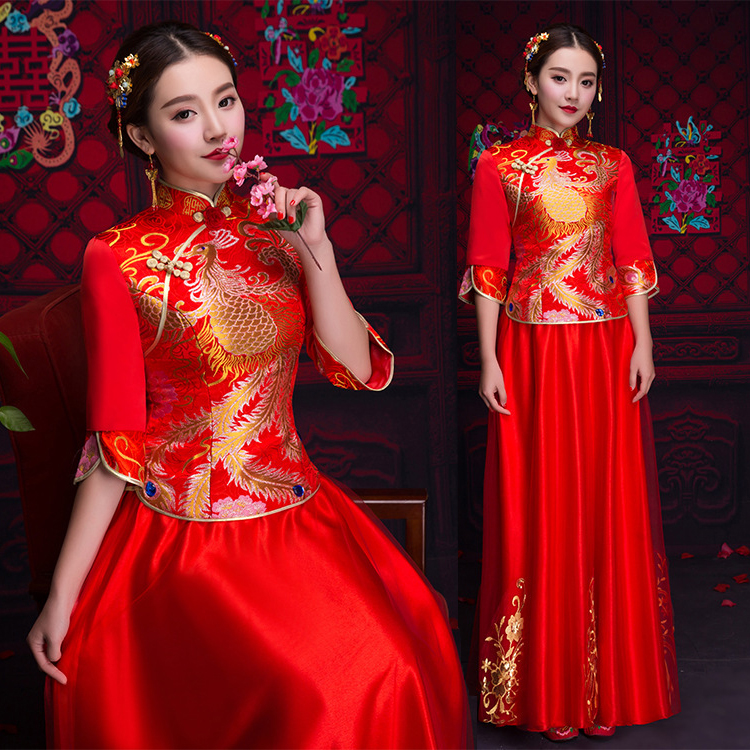 Bride Cheongsam Vintage Chinese Style Wedding Dress Retro Toast Clothing Lady Phoenix Gown Marriage Qipao red Clothes S XXL