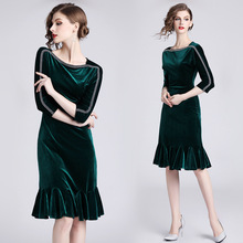 Autumn women velvet fishtail dress 2018 Fall elegant half sleeve ruffles green D367