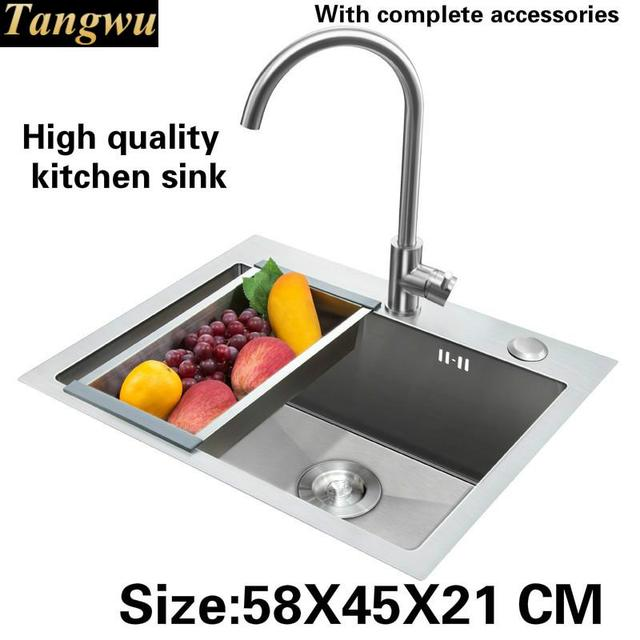 Tangwu Handmade High End Kitchen Sink Food Grade 304 Stainless Steel Large Single Slot