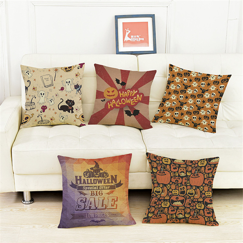 Halloween Pumpkin funny cartoon Witch,candy,ghost Pillowcase Cushion Cover Home sofa hotel club coffee shop Decoration for gift