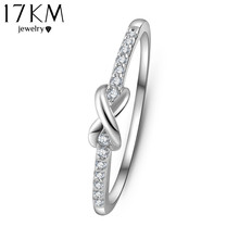 17KM Gold Color Cross infinity Crystal Ring