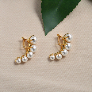 Image 2 - European and American fashion niche brands gradually change Pearl ear nails female exaggeration temperament vintage earrings