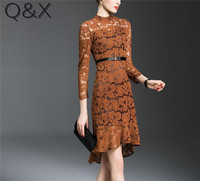 IL3 2017 Brand Dress Summer Women High Quality High Neck Brown Lace Hollow Out Dress Casual